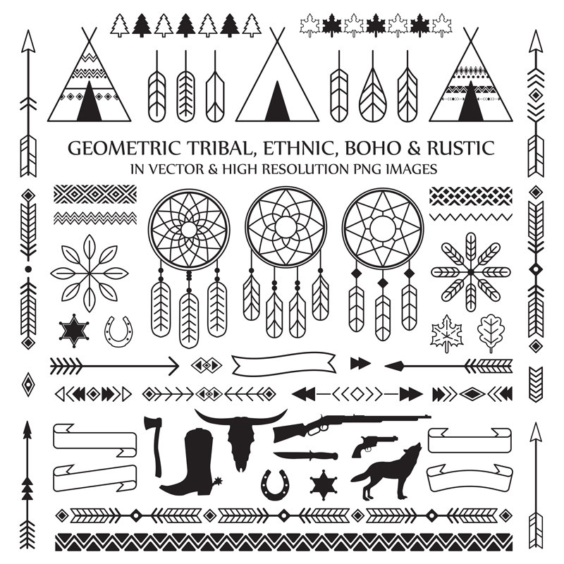 Art tribal feather arrow. Boho clipart line
