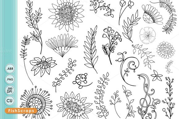 Wildflower art silhouette by. Boho clipart line