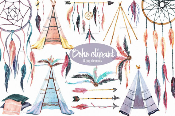 Boho clipart line. Teepee feathers dreamcatchers watercolor