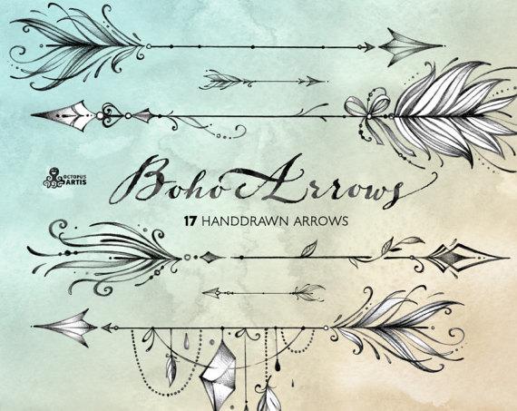Boho clipart line. Arrows hand drawn tribal