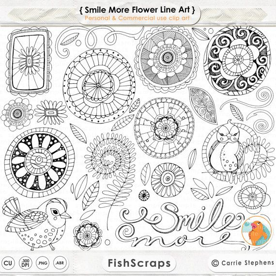 Boho clipart line. Doodle flowers digital flower