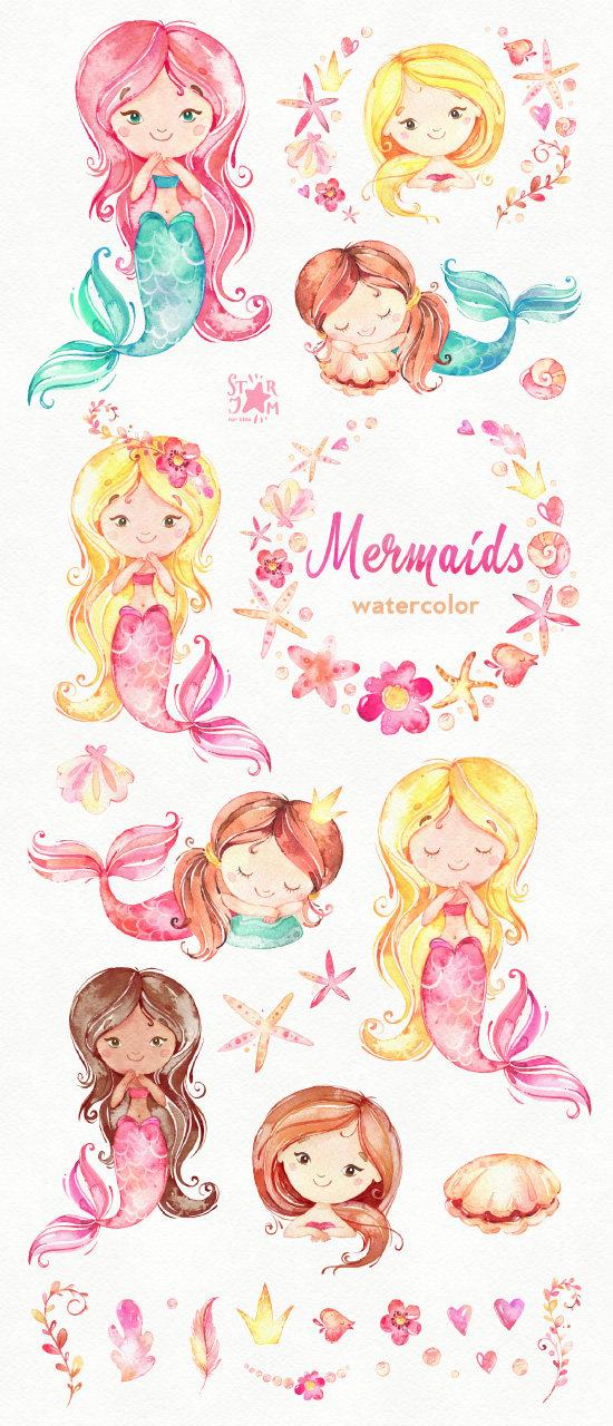 Boho clipart mermaid. Mermaids watercolor sea girls