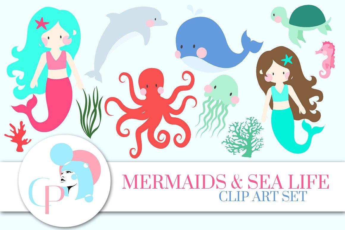 Boho clipart mermaid. Sea life clip art