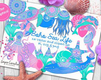 Ocean sea life cute. Boho clipart mermaid