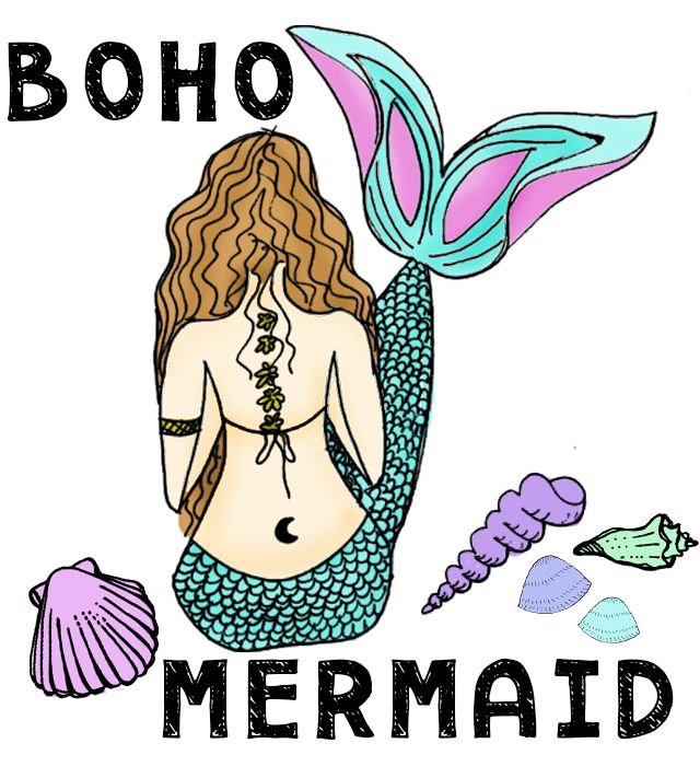 boho clipart mermaid