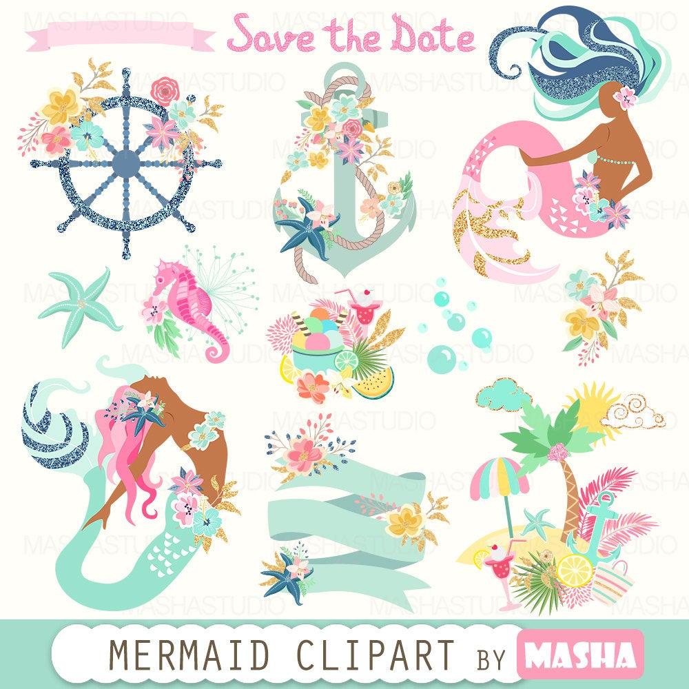 Summer with mermaids nautical. Boho clipart mermaid