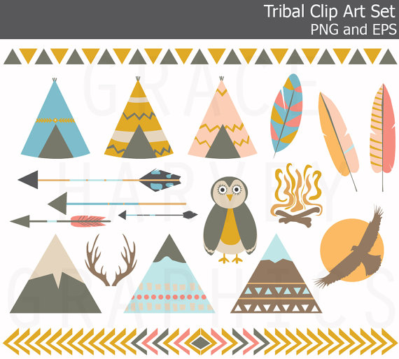Boho clipart mountain. Tribal teepee owl arrow