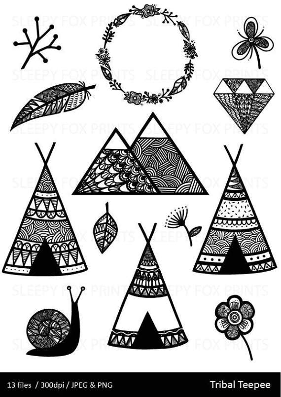 Wild woodland wilderness feather. Boho clipart mountain