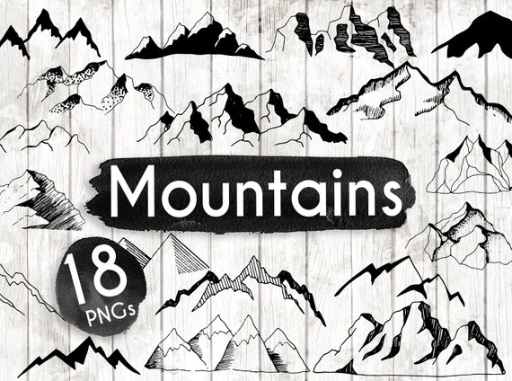 Hand drawn vector . Boho clipart mountain