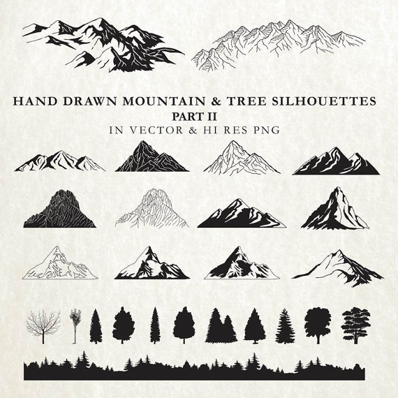 Hand drawn cartography nature. Boho clipart mountain