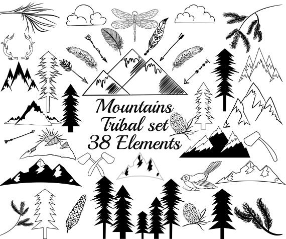 Boho clipart mountain. Tribal clip art set