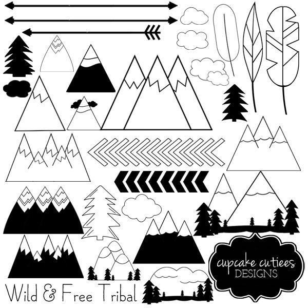 Boho clipart mountain. Wild and free digital