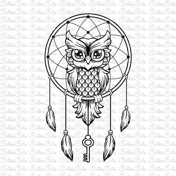 With key svg dreamcatcher. Boho clipart owl