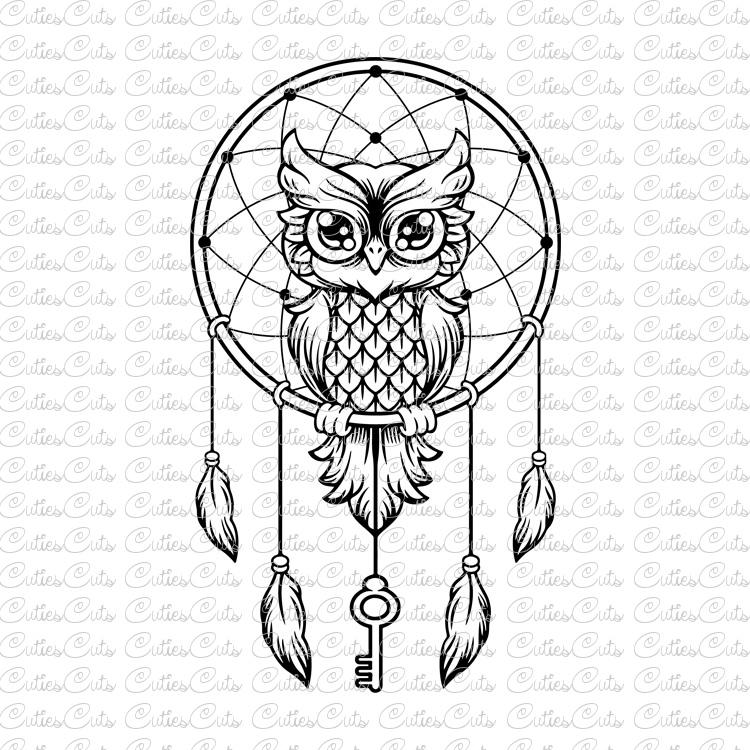 Boho clipart owl. With key svg dreamcatcher