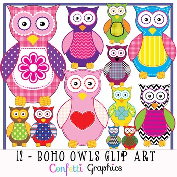 Boho clipart owl. Clip art set different