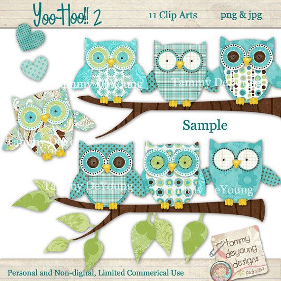Digital clip art nursery. Boho clipart owl