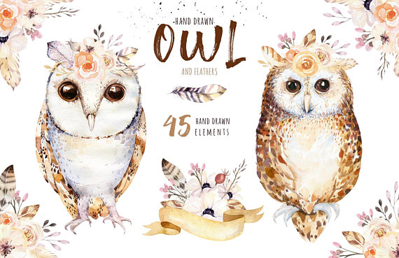 Hand drawn watercolor owls. Boho clipart owl