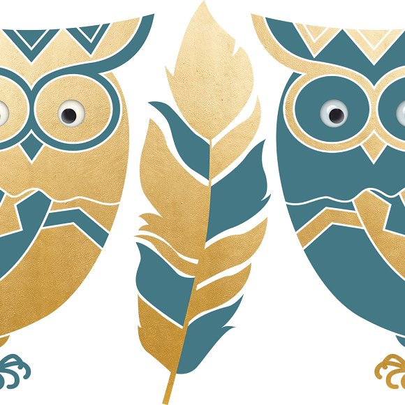 Boho clipart owl. Forest animal set illustrations