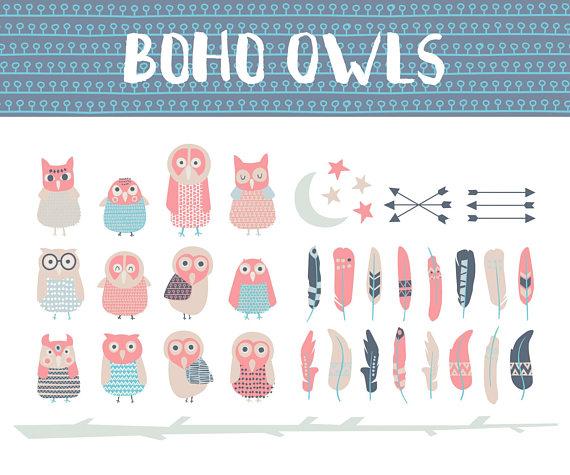 Owls digital clip art. Boho clipart owl