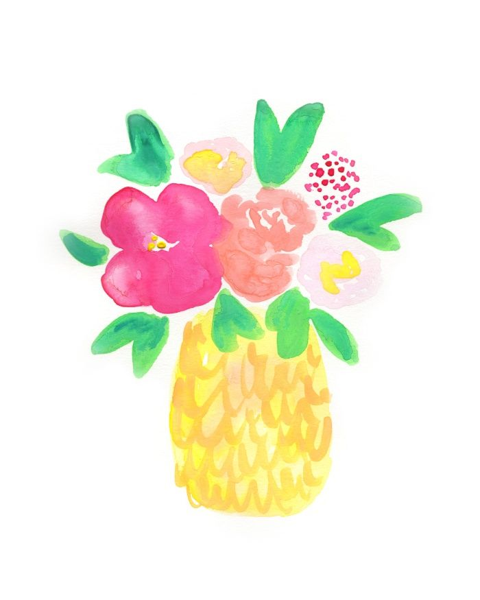 Boho clipart pineapple. Watercolor blooms art print