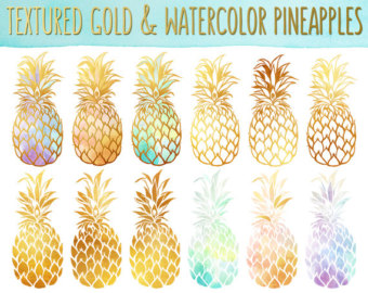 Boho clipart pineapple. Art print etsy gold