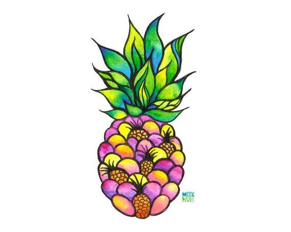 Mini pineapples hawaii tropical. Clipart pineapple boho