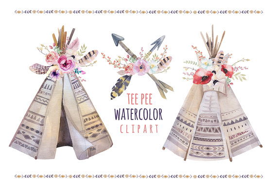 Boho clipart teepee. Watercolor with feathers wedding