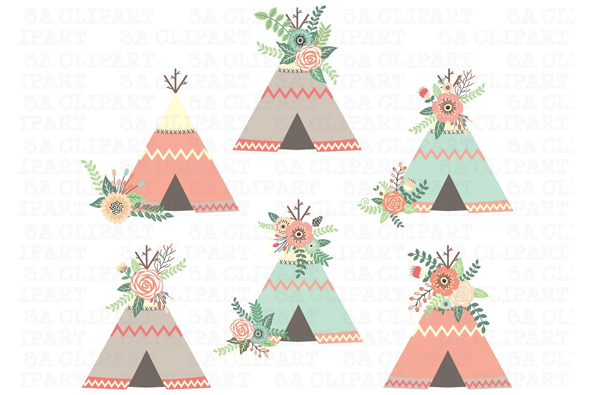 Boho clipart teepee. Floral illustrations creative market