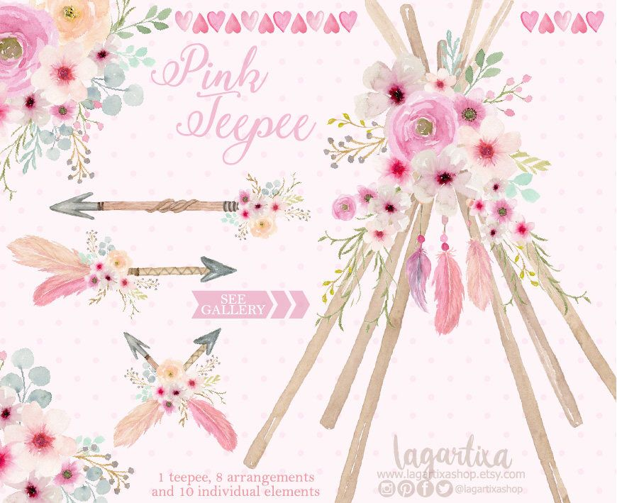 Tipi and floral watercolor. Boho clipart teepee