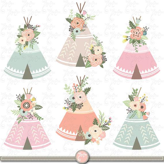 Floral tribal clip art. Boho clipart teepee