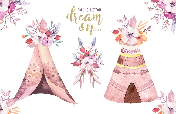 Watercolor collection illustrations creative. Boho clipart teepee