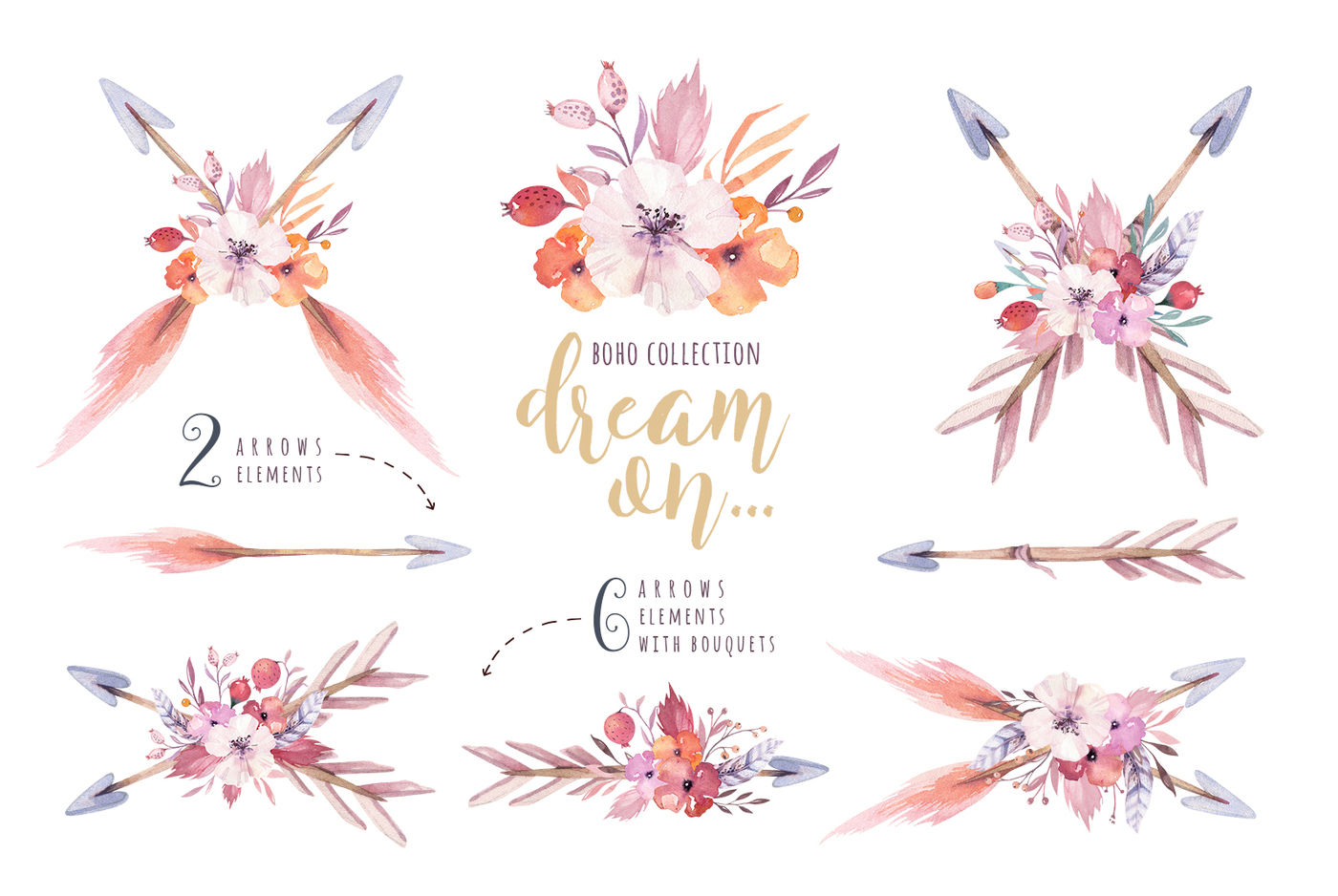 Boho clipart teepee. Watercolor collection by peace