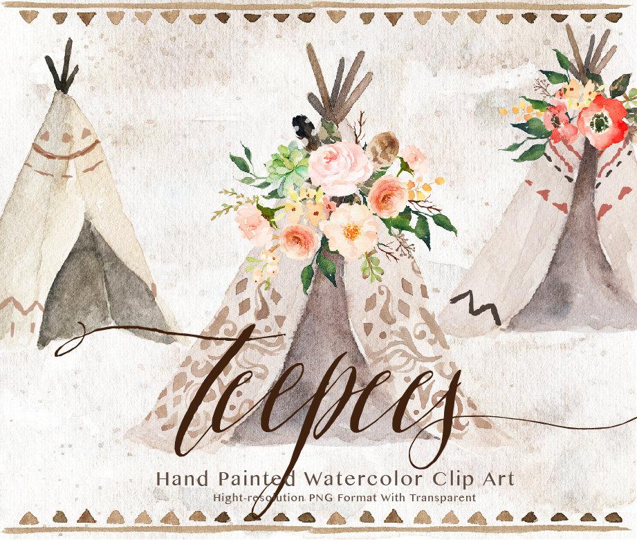 Watercolor clip art wedding. Boho clipart teepee
