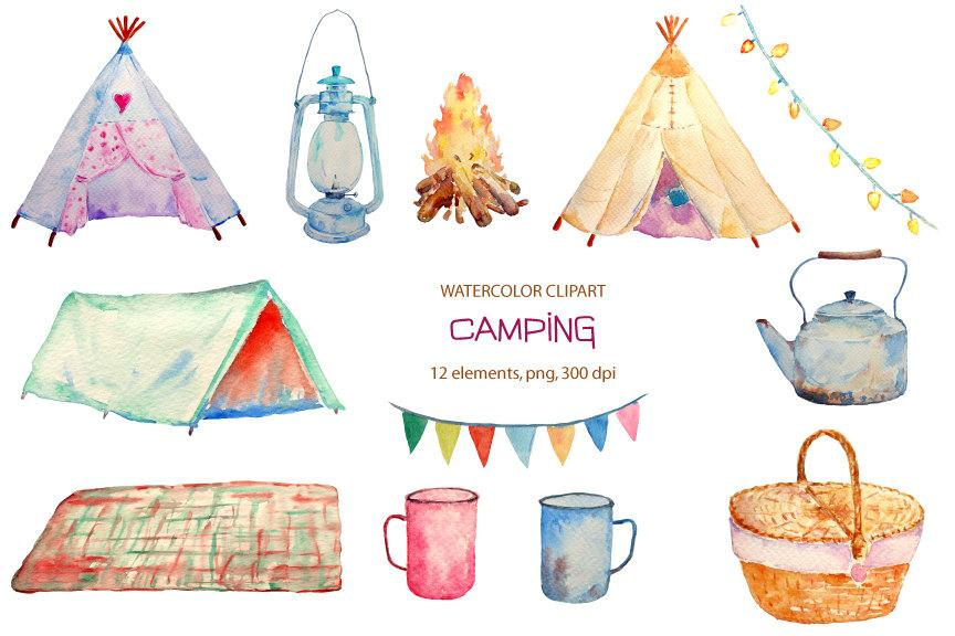 Hand painted watercolor camping. Boho clipart tent