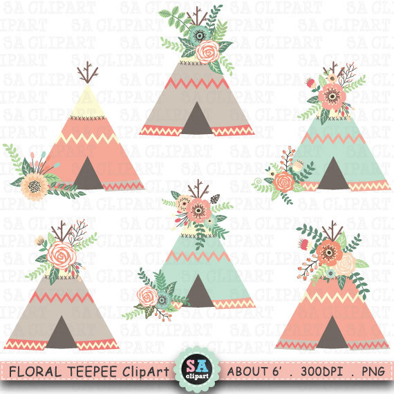 Boho clipart tent. Floral teepee clip art