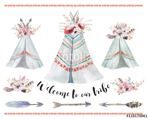 Handdrawn watercolor tribal teepee. Boho clipart tent