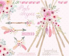 Boho clipart tent. Floral tribal teepee tents