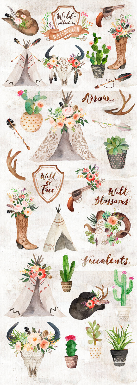 Watercolor wild west collection. Boho clipart themed