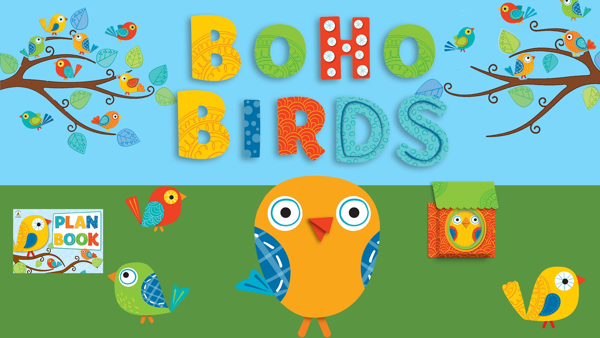 Birds classroom decor theme. Boho clipart themed