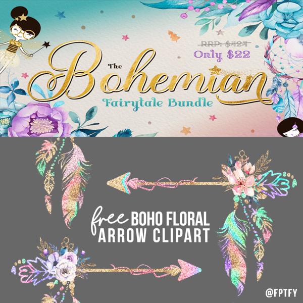 Free floral arrow pretty. Boho clipart themed