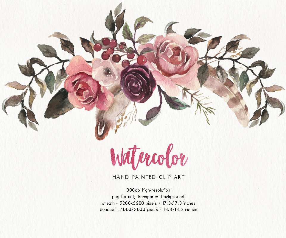 Boho clipart transparent. Watercolor and rustic wreath