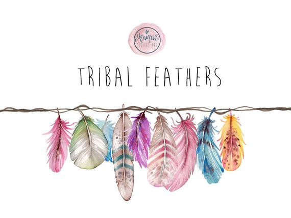 Boho clipart tribal. Feathers watercolor bright colorful