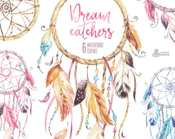 Boho clipart tribal. Dreamcatchers watercolor feathers diy