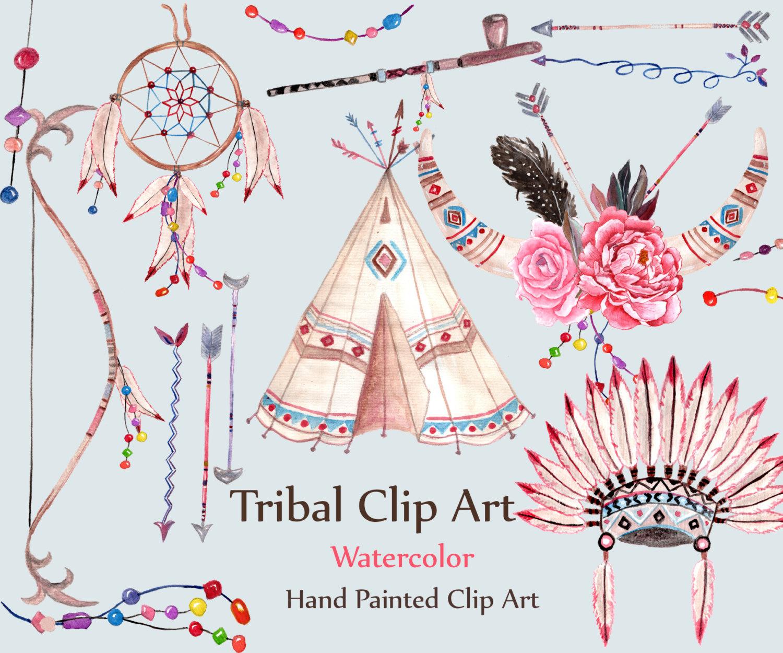 Watercolor clip art dream. Boho clipart tribal