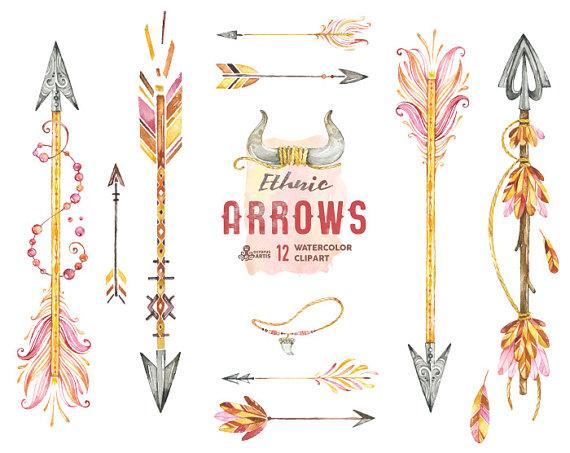 Ethnic arrows watercolor hand. Boho clipart tribal