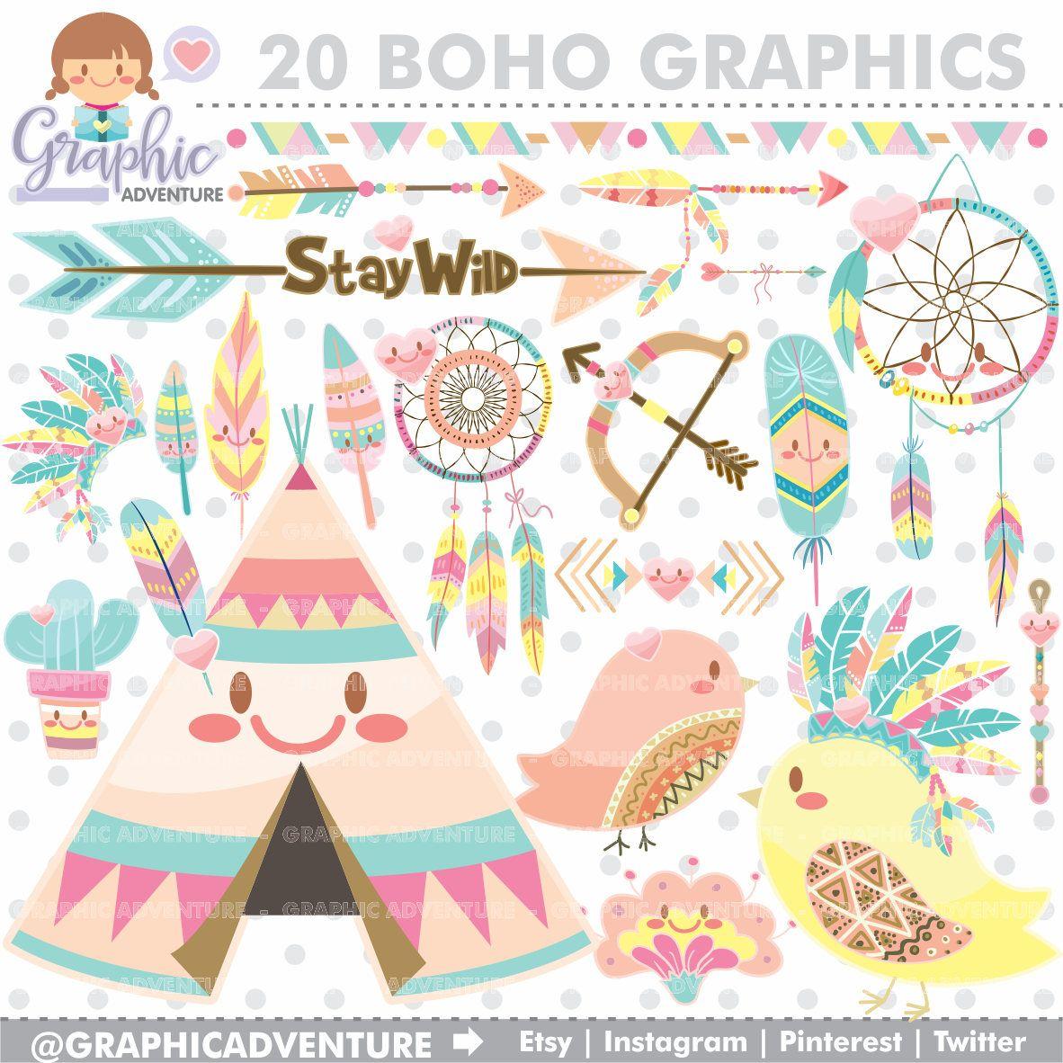 Graphic commercial use kawaii. Boho clipart tribal