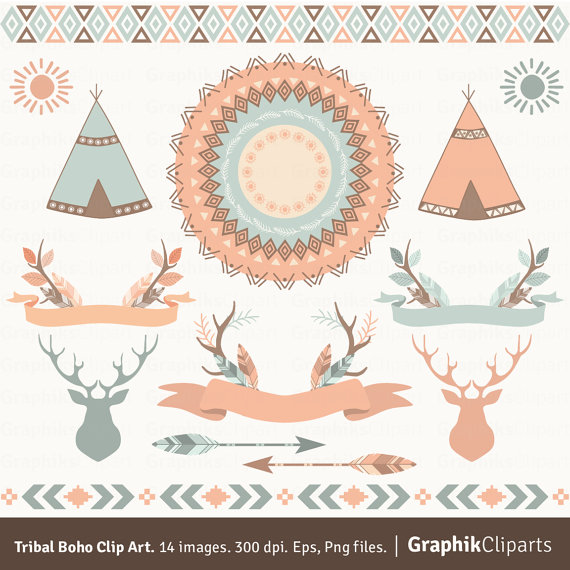 boho clipart tribal