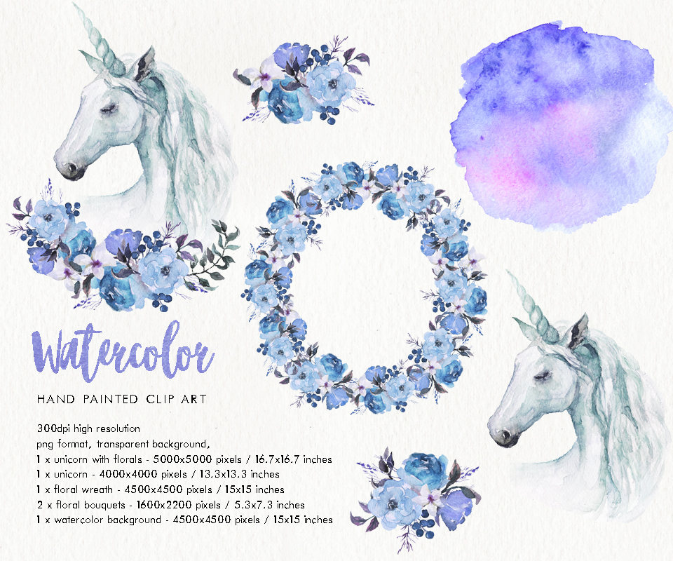Watercolor clip art flower. Boho clipart unicorn
