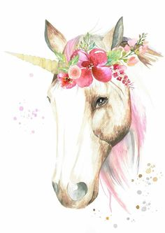 Boho clipart unicorn. Magical watercolor wall art