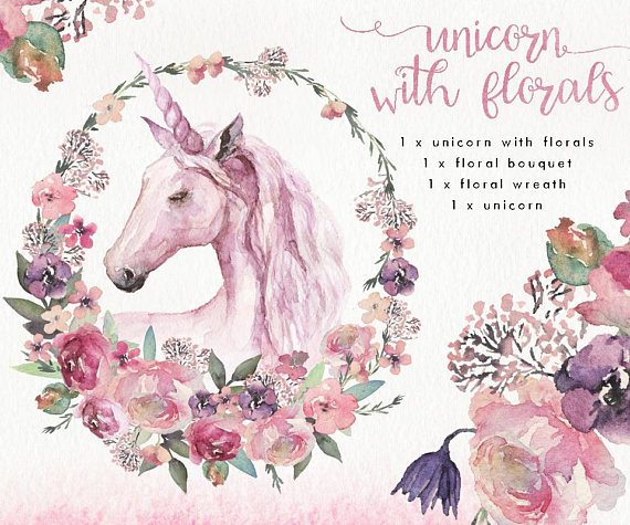 Boho clipart unicorn. Watercolor clip art flower
